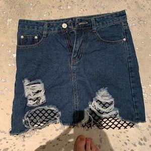 Medium Jean Skirt with Fish Net